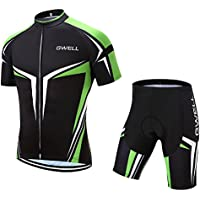 GWELL Conjunto de Ciclismo para Hombre, Maillot de Manga Corta + Culote Pantalones Cortos Acolchado 3D para Bicicleta de Verano