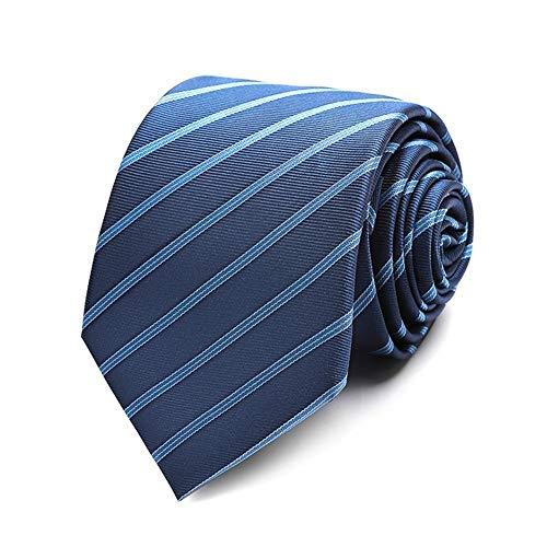 Daily Work Polyester Schmale gestreifte Business-Krawatte im britischen Gentleman-Stil, 3 Farben, 7 * 145 cm (Farbe: Hellblaue und weiße Streifen) - Britische Streifen-krawatte