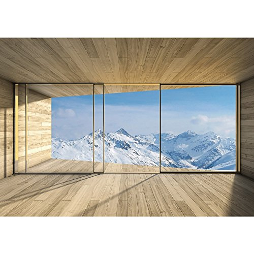 Vlies Fototapete PREMIUM PLUS Wand Foto Tapete Wand Bild Vliestapete - Holz Raum Ausblick Berge Winter Schnee Alpen - no. 1894, Größe:254x184cm Blueback Papier (Schnee Berg Bilder)