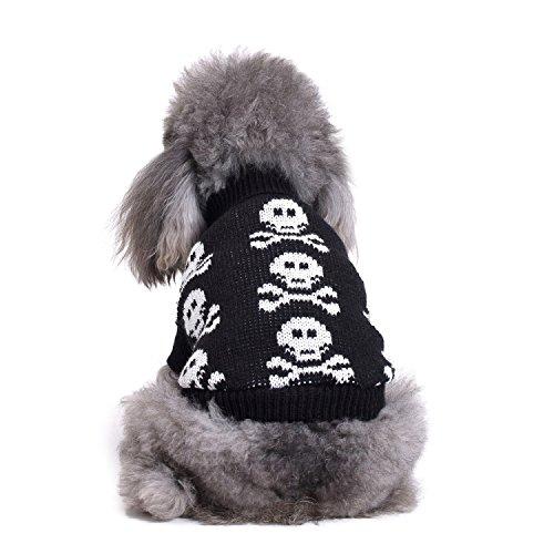 S-Lifeeling Totenkopf Hunde Pullover Urlaub Halloween Weihnachten Haustier Kleidung Angenehm Weiches Hund Kleidung-Schwarz, Dog - Back Length 14