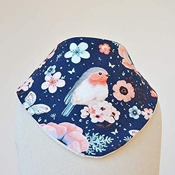 Baby Lätzchen Sabberlatz Halstuch | Vögelchen Blumen blau weiß rosa | Mädchen 0-3 Jahre | Jersey/Fleece