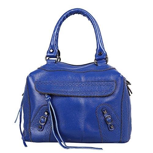 Dissa Q0534 deman Leder Handtaschen Top Handle Satchel Tote Taschen Schultertaschen ,31x22x17cm (B x H x T) Blau