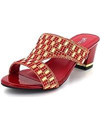 ee555f7cb Mujer Señoras Noche Casual Partido Ponerse Diamante Decorado Bloquear Tacón  Granate Sandalias Zapatos…