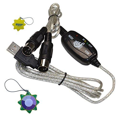 HQRP USB MIDI IN/OUT Schnittstellenumsetzer-Kabel PC zu Musik Tastatur Adapterkabel für YAMAHA PSR-225GM 61-Key + HQRP Sonnenlichtmesser (Yamaha-keyboard Midi-controller)
