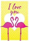 Postkarte A6 +++ LUSTIG von modern times +++ FLAMINGO COUPLE I LOVE YOU +++ MODERN TIMES © DSA