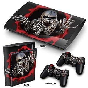 PS3 Super Slim Playstation Haut-, PVC für Konsole + 2 Controller / Pads Aufkleber-Schutz-Abdeckung Art Leather Effect Schädel F**K Y*U