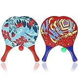 com-four® 6-teiliges Beachball Set, Beachball-Schläger aus Holz und Gummibälle in Verschiedenen Farben (06-teilig Mix)