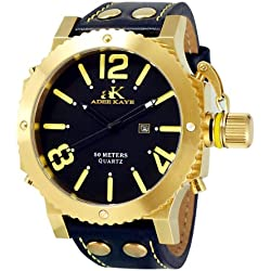 Adee Kaye Mondo G2 Herren Schwarz Leder Armband Edelstahl Gehäuse Uhr ak7211-MG