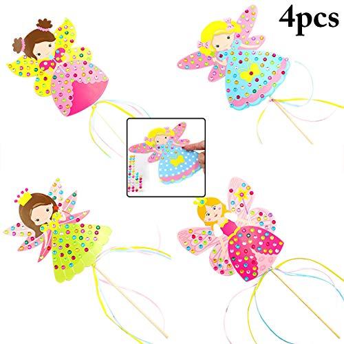 (Joyibay 4 STÜCK Kinder Prinzessin Wand DIY Strass Zauberstab Kostüm Zauberstab für Mädchen)