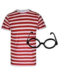 Para hombre palo de golf para niños a rayas rojas y blancas donde WALLY copas de con diseño de estampado de T-camiseta de manga corta disfraz de gorro de punto con T-Shirt+Glasses