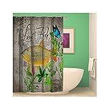 SonMo Duschvorhang Pflanze und Fisch Polyester Stil 1 Wasserdicht Anti-Bakteriell Anti-Schimmelbadvorhang mit Duschvorhangringen 150×180CM