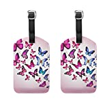 COOSUN Pink Butterflies Luggage Tags Travel Labels Tag Name Card Holder for Baggage Suitcase Bag Backpacks, 2 PCS