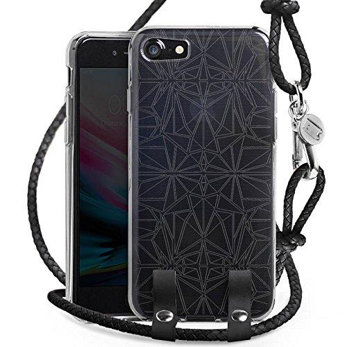 Apple iPhone 7 Carry Case Hülle zum Umhängen Handyhülle mit Kette Transparent mit Muster Mandala Kaleidoskop (Kaleidoskop-muster)