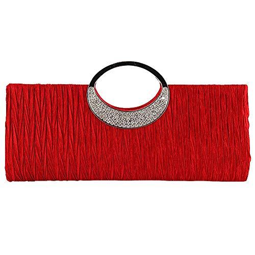Abend Handtaschen Kupplungen (Damen Abendkleid Party Strass Satin Plissee Abend Hochzeit Party Kupplung Geldbörse Handtasche rot)