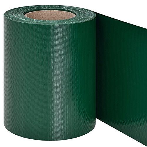 Juskys PVC Sichtschutzstreifen Doppelstabmatten Zaun | 35m x 19 cm | 30 Befestigungsclips | grün | Zaunfolie Sichtschutz Windschutz