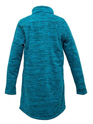 Deproc Active Damen Weste Strickfleece Mantel Elmsdale Long Carribean Blue
