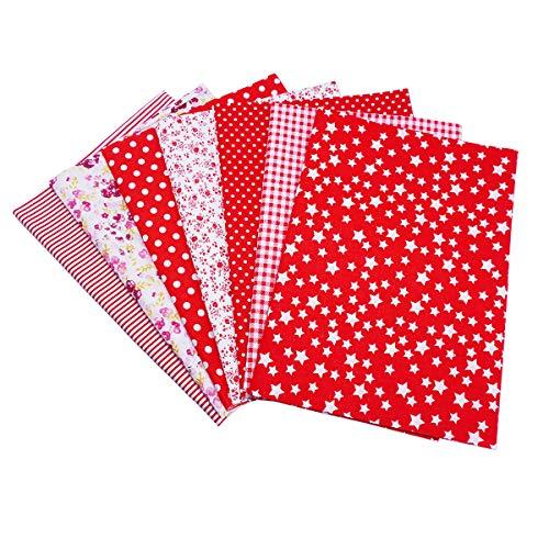 ba8d8e2a87e474 YXJD 7Pcs Baumwollstoff Patchwork Stoffe DIY Gewebe Quadrate Baumwolltuch  Stoffpaket Zum Nähen mit vielfältiges Muster 50x50cm Rot