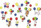 Bambinella Schrank-/Wandsticker - Schranktattoo Wandaufkleber - Motiv: Tiere am Ballon - 17-teilig - Made in eigener Werkstatt in Germany