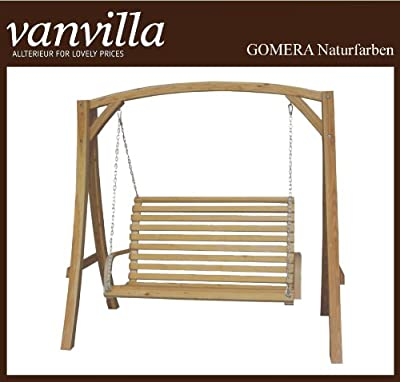 Hollywoodschaukel GOMERA Gartenschaukel aus Lärche NATURFARBEN Holzschaukel Lärchenholz