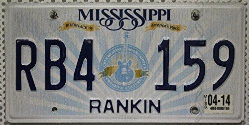 USA Nummernschild MISSISSIPPI ~ US Auto Kennzeichen Motiv Gitarre ~ Birthplace of America's Music * BLECHSCHILD * Celebrating Mississippi's Creative Culture