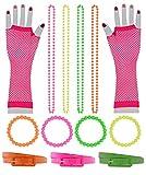 Foxxeo 13 teiliges 80er Jahre Neon Damen Kostüm Set für Fasching & Karneval - Netzhandschuhe, Gürtel, Armbänder, Ketten