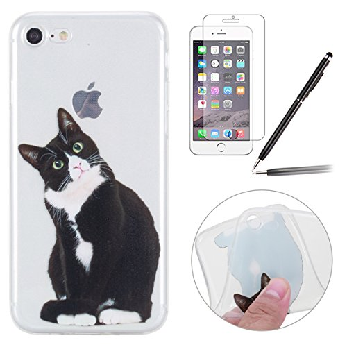 iPhone 7 Coque,iPhone 7 Case,iPhone 7 Cover - Felfy Transparent Ultra Light Slim Gel Souple Soft Flexible TPU Silicone Cas Color Motif Protector Housse Anti Scratch Couverture Coloré Motif de Protecti Noir Chat Coque