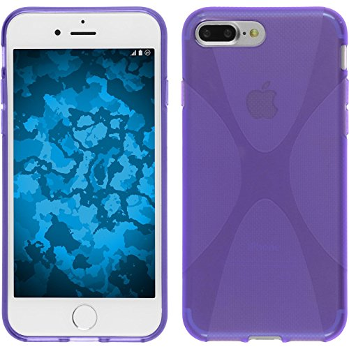 PhoneNatic Case für Apple iPhone 7 Plus Hülle Silikon lila X-Style Cover iPhone 7 Plus Tasche + 2 Schutzfolien Lila