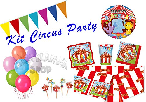 Partylandia Werkzeug-Parteigeburtstag-Zirkus für 16 Bedeckt Einschließlich Ausschmückungen und Ausschmückungen zu Thema 121 Pz