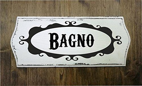 TARGA INSEGNA IN LEGNO EFFETTO VINTAGE SHABBY CHIC BAGNO 30X13 CM IDEA REGALO FATTA A MANO