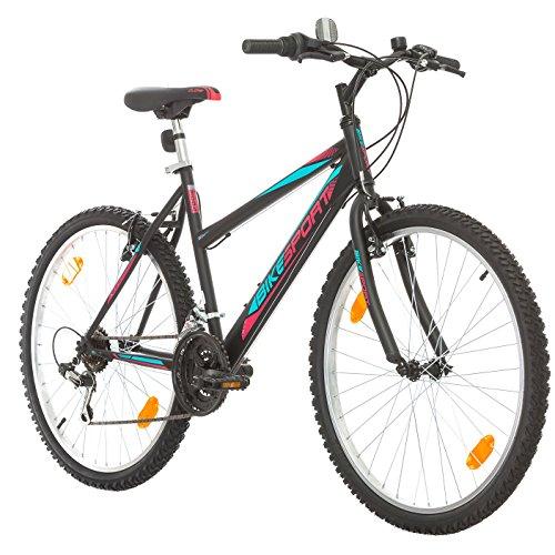 BIKE SPORT LIVE ACTIVE 26 Zoll Bikesport Adventure Mädchenfahrrad Damen Fahrrad Mountainbike, Shimano 18 Gang (Schwarz matt) -
