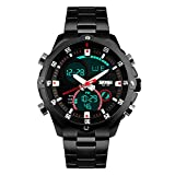 bozlun Herren-Chronograph Edelstahl Armband Uhr mit Wasser Widerstand 3ATM Dual Time Display Stoppuhr Auto Datum Digitale Armbanduhr Schwarz