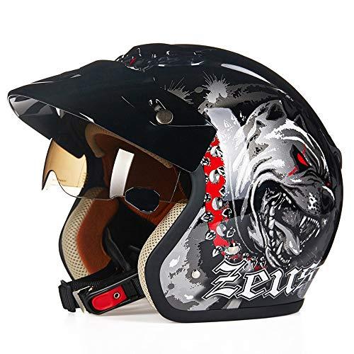 SJAPEX Unisex Leicht Jethelme, Retro Open-face Motorradhelm Harley Helme mit ABS Shell und Hell Dog Pattern, für Chopper Motorrad Bike Roller Mountain Motocross, DOT Zertifiziert
