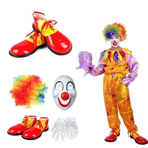 BESTOYARD 4 stücke Clown Kostüm Sets Karneval Schöne Kreative Leistung Kostüm Set Karneval Requisiten (Perücke, Maske, Handschuhe, Schuhe)