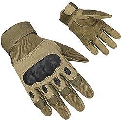 Magic Zone ventilar guantes resistentes al desgaste nudillo duro y protección de la espuma para la Disparo, Caza Airsoft, Ciclismo, motos Guantes Los hombres al aire libre guantes de dedo completo negro M/L/XL