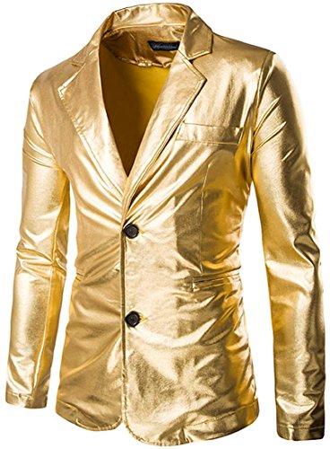 Jeansian Hommes Mode Costumes Solid Color Casual Blouson Men's Fashion Bling Shiny Lapel Blazer Casual Suit Party Show Jacket Tops 9514 golden
