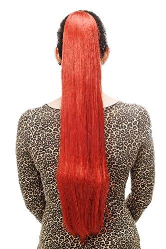 WIG ME UP - T113-137 Haarteil/Zopf, sehr lang, glatt, Butterfly-Klammer, ca. 70 cm, Leuchtend Rot