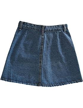 Mujeres Minifaldas Corta Falda De Mezclilla Con Bolsillos Grandes Y Botón