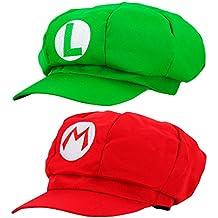 Super Mario Mütze 2x SET ROT MARIO und GRÜN LUIGI für Erwachsene und Kinder Karneval Fasching Verkleidung Kostüm Mützen Hut Cap Herren Damen Kappe