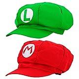 thematys Super Mario Mütze 2er Set Luigi + Mario - Kostüm-Set für Erwachsene & Kinder - perfekt für Fasching, Karneval & Cosplay - Klassische Cappy Cap