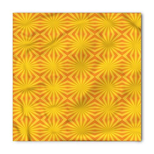 TKMSH Orange Stripe Bandana, Sunburst Line Pattern, Unisex Head and Neck Tie,Unisex Bandana Head and Neck Tie Neckerchief Headdress Silk-Like 100% Polyester -S -