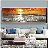 Ywsen Sonnenuntergänge Natürliche Meer Strand Landschaft Poster und Drucke Leinwand Malerei Panorama Wandkunst Bild für Wohnzimmer 50x150 cm kein Rahmen