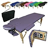 Vivezen  Table de massage pliante 2 zones en bois avec panneau Reiki + Accessoires et...