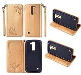 LG K10 Oro Cover - Cozy Hut Custodia portafoglio per LG K10, Retro Fiore Modello Stampata Design Con Cinturino da Polso, Magnetico Snap-on Book Style Internamente Silicone TPU Case Protettiva Pelle Folio Flip Custodia per LG K10 - Farfalla oro rosa