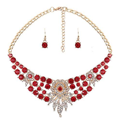 YAZILIND Frauen Kostüm-Schmuck-Set Roter Kristall Choker Anhänger Bib Statement Charm Halskette und Ohrring-Sätze