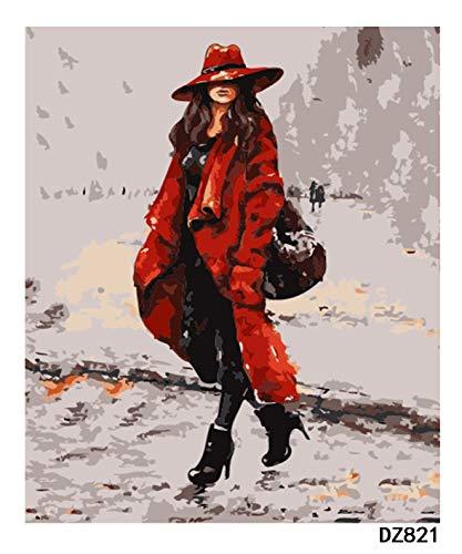 BAB.LI.JIE DIY Ölgemälde Digitale Set Farbe Bild Kunsthandwerk Geschenk einschließlich Home Wanddekoration Kunst Wandkunst Malerei Red Trenchcoat Mädchen(40*50 cm) (Junior Trenchcoat)
