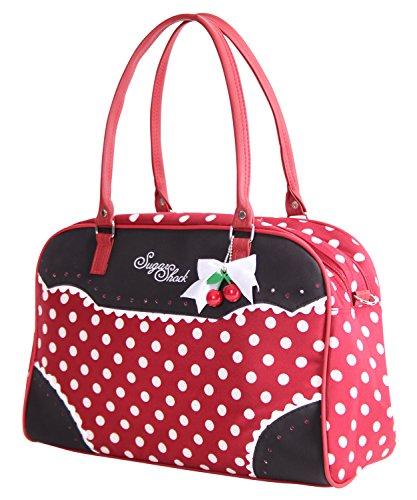 SugarShock Auro 50s retro Polka Dots Rockabilly Shopper Tasche Handtasche, Farbe:burgund