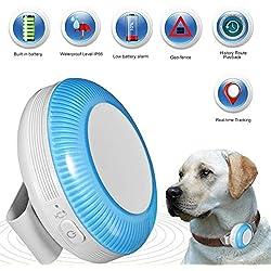 Zeerkeer Mini GPS Tracker for Pet, GPS/LBS/WiFi monitoreo en Tiempo Real con Alarma SOS, Valla electrónica, grabación cronológica localizador GPS para Animales domésticos Perros Gatos (Azul)
