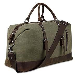 BLUBOON Reisetasche Weekender Gro Damen Herren Vintage Leder Segeltuch Holdall Overnight Travel Bag (Armeegrün)