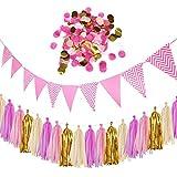 Decorazioni per feste, set di nappe di carta velina con bandierine triangolari e coriandoli di carta per matrimoni, compleanni