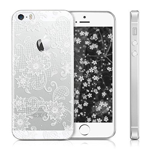 kwmobile Housse miroir pour Apple iPhone SE / 5 / 5S Étui TPU en silicone cover portable, housse de protection en or rose miroitant Pointe de fleurs IMD blanc transparent